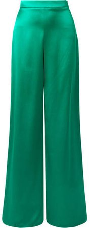 Cushnie - Silk-satin Wide-leg Pants - Jade