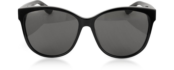Saint Laurent Black/Gray SL M23/K Oval Frame Women's Sunglasses at FORZIERI