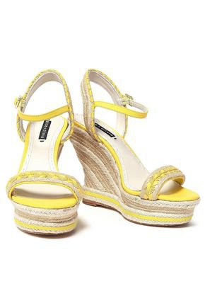 Leather-trimmed jute wedge espadrille sandals | ALICE + OLIVIA | Sale up to 70% off | THE OUTNET