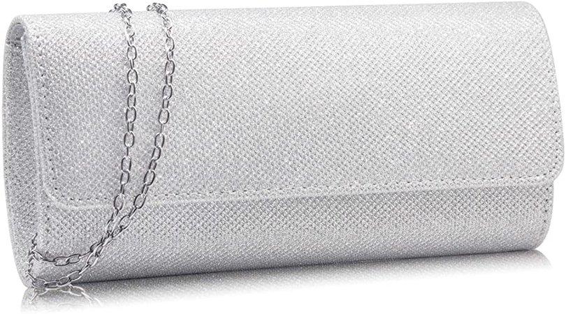 Milisente Evening Bag for Women Glitter Crossbody Shoulder Handbag Sparkly Clutch Bag Wedding Evening Purse (Silver): Handbags: Amazon.com