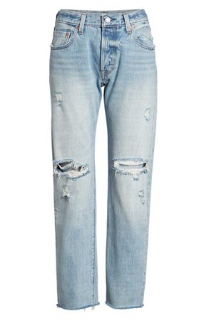 Levi's® 501® Ripped High Waist Crop Jeans (Crazy Cool) | Nordstrom