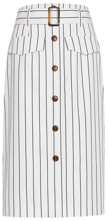 White Pinstriped Belted Skirt