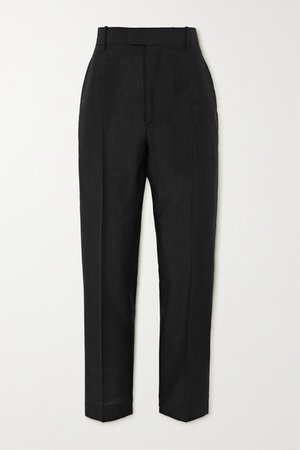 Mohair And Wool-blend Straight-leg Pants - Black