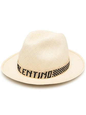 Shop Valentino logo-band straw hat with Express Delivery - Farfetch