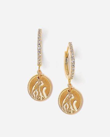 Tess + Tricia Gold Wild Cheetah Huggie Hoop Earrings