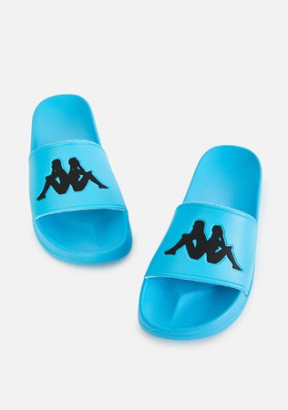 *clipped by @luci-her* Kappa Teal Blue Authentic Adam 2 Slide Sandals   Dolls Kill