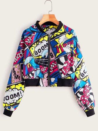 Comic Print Crop Bomber Jacket | ROMWE