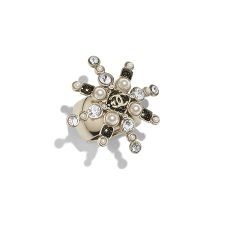 Metal, Glass Pearls & Strass Gold, Pearly White, Black & Crystal Ring | CHANEL
