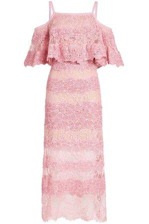 Cold-Shoulder Lace Midi Dress Gr. FR 36