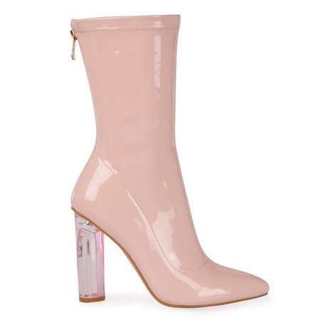 Kylie High Ankle Heeled Boots In Pink Patent With Pink Heel