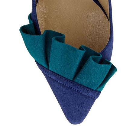 Pop Blue Suede Pump with Teal Suede Frill | LEENA 85 | Cruise 19 | JIMMY CHOO