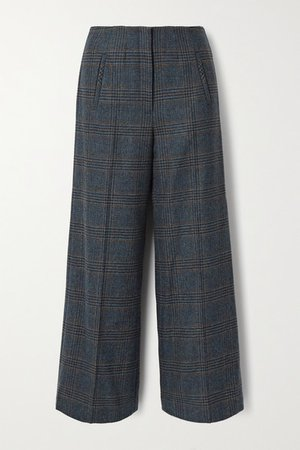 Dova Prince Of Wales Checked Wool Straight-leg Pants - Gray