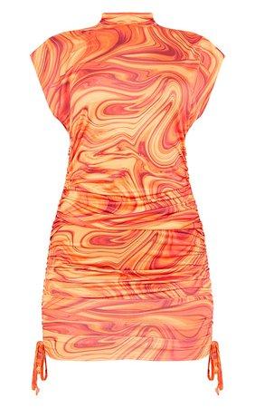 Orange Marble Sleeveless High Neck Bodycon Dress | PrettyLittleThing USA