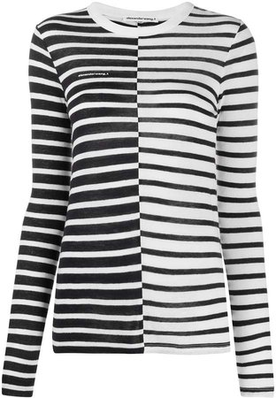 long-sleeved striped T-shirt