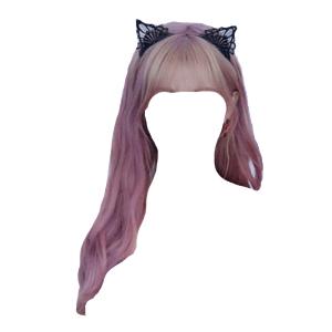 Purple Hair With Cat Ear Headband PNG