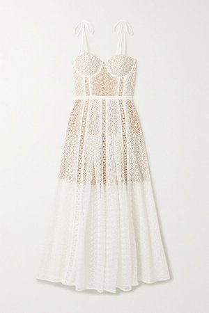 White Grosgrain-trimmed paneled lace midi dress | Self-Portrait | NET-A-PORTER