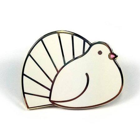 Fantail dove pin hard enamel gold 3.25cm pigeon bird lapel