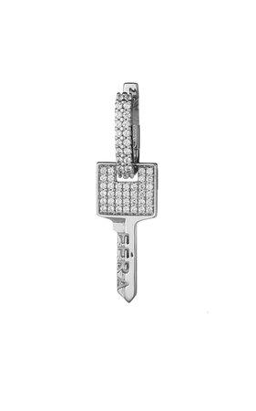 18k White Gold Small Key Earring By Eéra | Moda Operandi