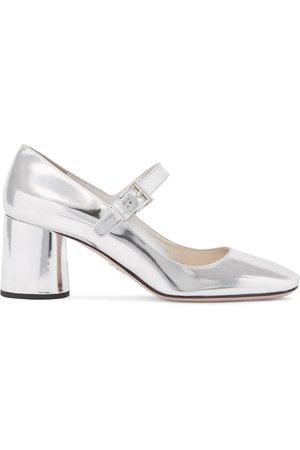 Silver Metallic leather Mary Jane pumps | Prada | NET-A-PORTER