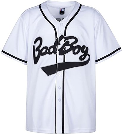 Amazon.com: MOLPE Badboy #10 Biggie Baseball Jersey S-XXXL White, 90S Hip Hop Clothing for Party, Stitched Letters and Numbers: Clothing
