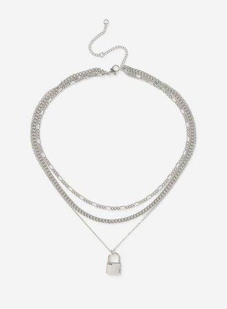 Silver Padlock Multirow Necklace   Miss Selfridge