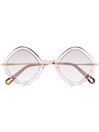 Shop gold Chloé Eyewear Poppy diamond-frame sunglasses with Express Delivery - Farfetch