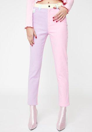 Sugar Thrillz Pastel Colorblock Denim Jeans | Dolls Kill
