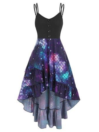 [25% OFF] Flounce Scale Print Mermaid High Low Cami Dress | Rosegal