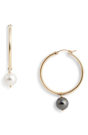 Beck Jewels Agra Mismatched Swarovski Imitation Pearl Hoop Earrings | Nordstrom