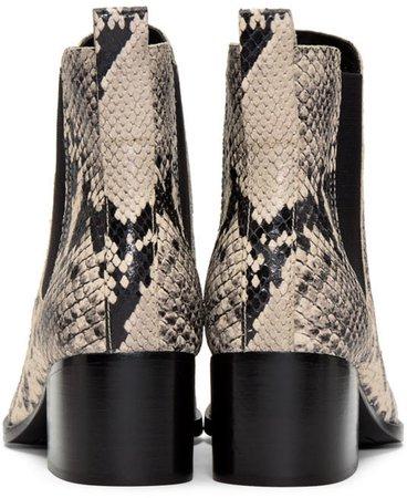 rag & bone: Black & White Snake Walker Boots | SSENSE
