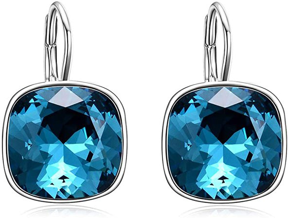 AOBOCO Sterling Silver Leverback Earrings for Women, Blue Crystal from Swarovski, Hypoallergenic Cushion Cut Earrings, Anniversary Birthday Jewelry Gifts for Wife Mom Girlfriend Daughter