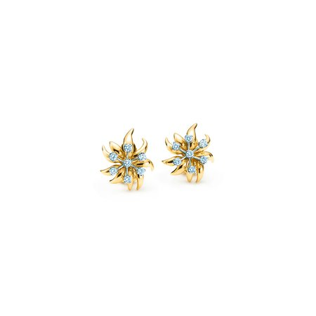 Tiffany & Co. Schlumberger Flame ear clips earrings in 18k gold with diamonds