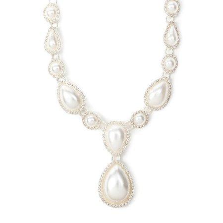 Rhinestone Framed Pearl Teardrops Statement Necklace | Icing US