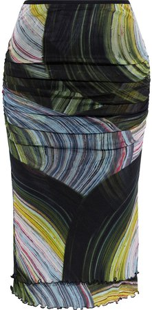 Elaine Ruched Printed Stretch-mesh Skirt