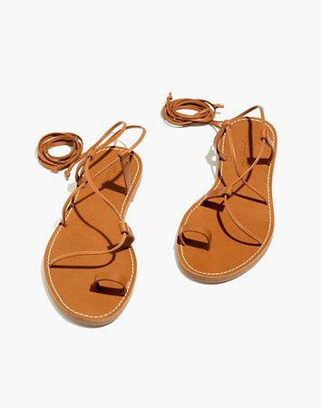 The Boardwalk Lace-Up Toe-Hold Sandal brown
