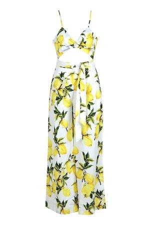 Lemon Print Tie Front Jumpsuit | Boohoo