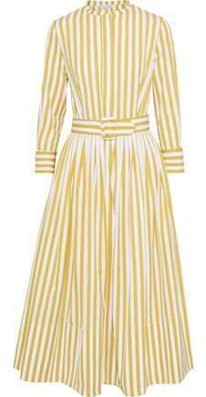 Belted Pleated Striped Cotton-poplin Midi Dress