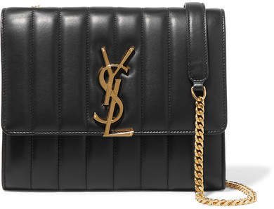 Vicky Quilted Leather Shoulder Bag - Black
