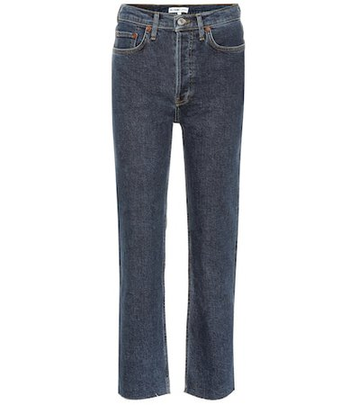Stovepipe high-rise straight jeans