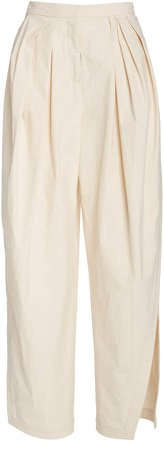 Rosie Assoulin Pleated Cotton Wide-Leg Pants