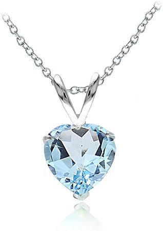 Amazon.com: Ice Gems Sterling Silver Blue Topaz 7mm Heart Solitaire Necklace: Jewelry