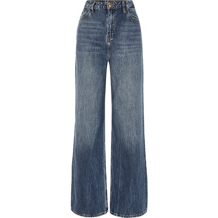Blue high rise loose leg jeans | River Island