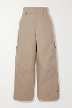 Cotton-canvas Wide-leg Pants - Beige