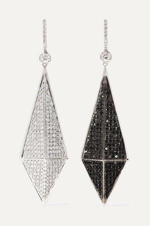 OFIRA   Pyramid reversible 18-karat blackened white gold diamond earrings   NET-A-PORTER.COM