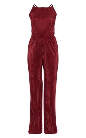 Petite Burgundy Plisse Tie Back Jumpsuit | PrettyLittleThing