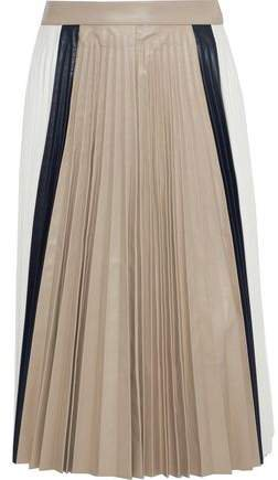 Pleated Color-block Leather Skirt