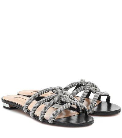 Moondust Leather Sandals - Aquazzura   Mytheresa