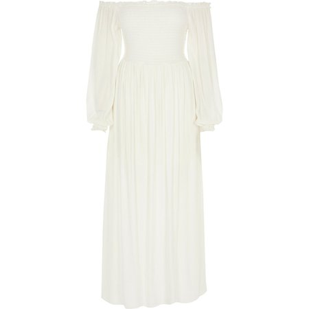 White long sleeve shirred bardot maxi dress   River Island