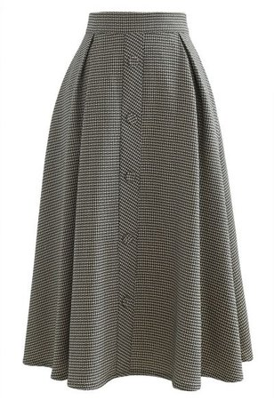 Houndstooth Tweed Textured A-Line Midi Skirt - Retro, Indie and Unique Fashion