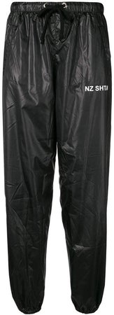 logo faux leather trousers